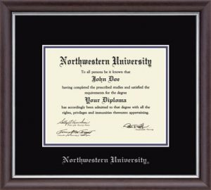 Northwestern University Wildcats Double Matted Devonshire Diploma Frame With Silver Accent & Silver Embossed Northwestern University Design With Main Matt In Black