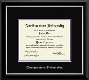 Northwestern University Wildcats Double Matted Black Diploma Frame With Silver Accent & Silver Embossed Northwestern University Design Main Matt In Black