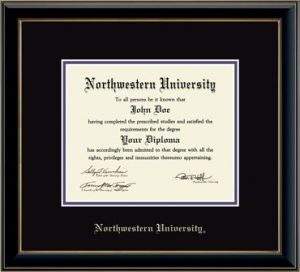 Northwestern University Wildcats Double Matted Black Diploma Frame With Gold Accent & Gold Embossed Northwestern University Design With Main Matt In Black