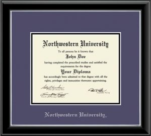 Northwestern University Wildcats Double Matted Black Diploma Frame With Silver Accent & Silver Embossed Northwestern University Design Main Matt In Purple