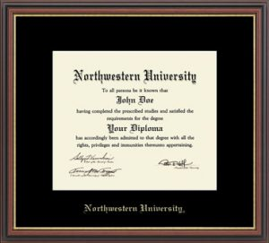 Northwestern University Wildcats Black Matted Williamsburg Diploma Frame With Gold Accent & Gold Embossed Northwestern University Design