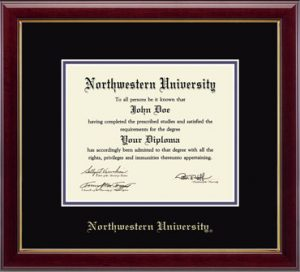 Northwestern University Wildcats Double Matted Cherri Diploma Frame With Gold Accent & Gold Embossed Northwestern University Design With Main Matt In Black