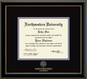 Northwestern University Wildcats Double Matted Black Diploma Frame With Gold Accent & Gold Embossed Northwestern University Seal Design With Main Matt In Black