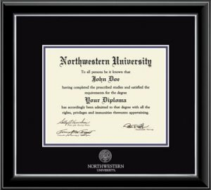 Northwestern University Wildcats Double Matted Black Diploma Frame With Silver Accent & Silver Embossed Northwestern University Seal Design Main Matt In Black
