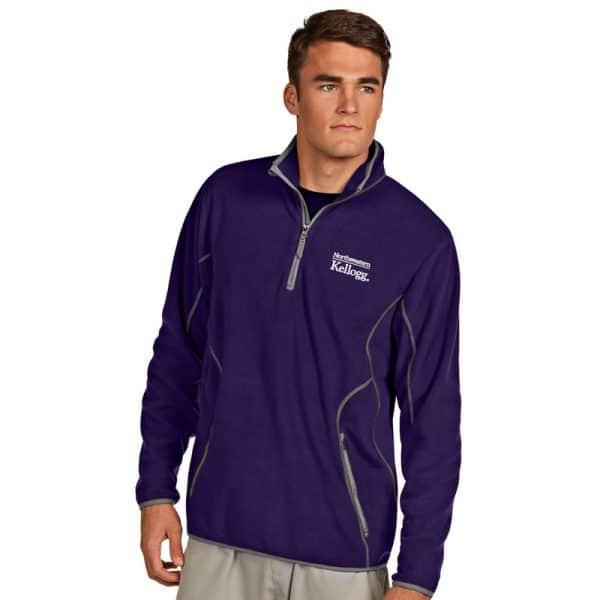 Northwestern / Kellogg Antigua Men's Purple Ice 1/4-Zip Polar Fleece