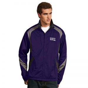 Northwestern Kellogg Men's Antigua Tempest Full Zip Light Weight Rain Jacket in Purple
