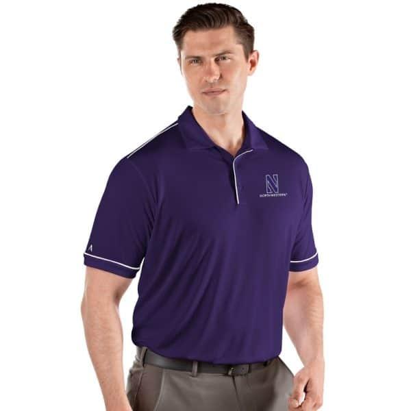 Northwestern University Wildcats Men's Antigua Purple Salute Polo Shirt