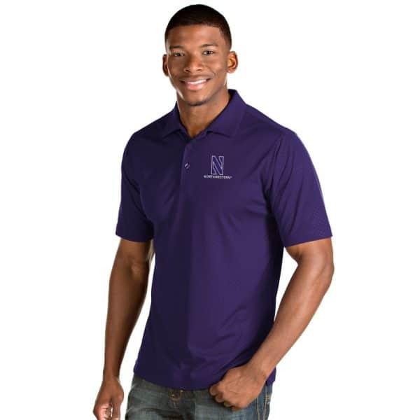 Northwestern University Wildcats Men's Antigua Purple Inspire Polo Shirt
