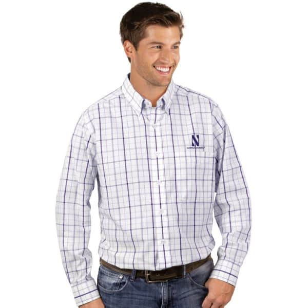 Northwestern University Wildcats Antigua Men's White / Purple Plaid Dress Shirt