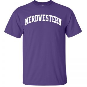 "Purple Short Sleeve Tee Shirt with ""Nerdwestern"" Design"