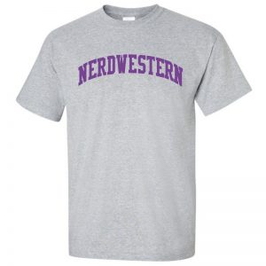 "Grey Short Sleeve Tee Shirt with ""Nerdwestern"" Design"
