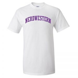 "White Short Sleeve Tee Shirt with ""Nerdwestern"" Design"