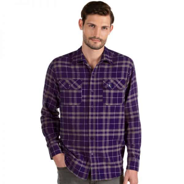 Northwestern University Wildcats Antigua Men's Stance Purple Plaid Flannel Shirt
