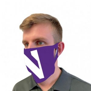 Northwestern University Wildcats Purple Fan Mask Face Cover With Stylized N Design-with model