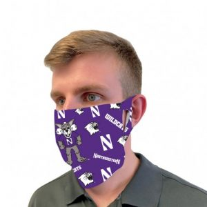 Northwestern University Wildcats Purple Fan Mask Face Cover With All-Over-Print Willie Design