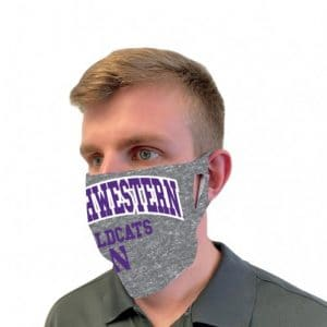 Northwestern University Wildcats Grey Fan Mask Face Cover With Northwestern Design