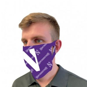 Northwestern University Wildcats Purple Fan Mask Face Cover With Stylized N & Tonal Design