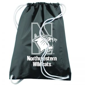 Northwestern University Wildcats Augusta Sportswear Black Draw String Back Pack with N-Cat Design
