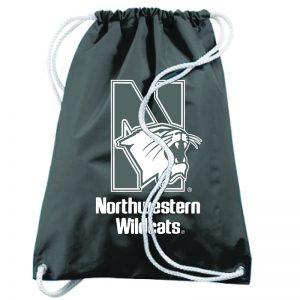 Northwestern University Wildcats Augusta Sportswear Large Black Draw String Back Pack with N-Cat Design