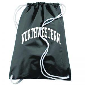 Northwestern University Wildcats Augusta Sportswear Large Black Draw String Back Pack with Arched Northwestern Design
