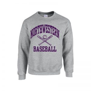 Northwestern University Wildcats Sport Grey Crewneck Sweatshirt with Baseball Design