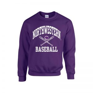 Northwestern University Wildcats Purple Crewneck Sweatshirt with Baseball Design