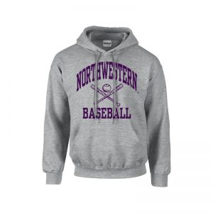 Northwestern University Wildcats Sport Grey Hooded Sweatshirt with Baseball Design