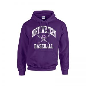 Northwestern University Wildcats Purple Hooded Sweatshirt with Baseball Design