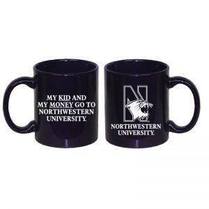 "Northwestern University Wildcats 11 oz. Purple Ceramic Coffee Mug with ""Side One: Multicolor N-Cat"" & "" Side Two: My Kid and My Money Go To Northwestern University"" Design"