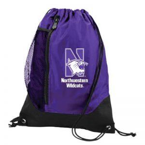 Northwestern University Wildcats Augusta Sportswear Purple Tres Draw String Back Pack with N-Cat Design