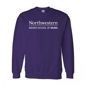 Northwestern University Purple Crewneck Sweatshirt with Bienen School of Music Design