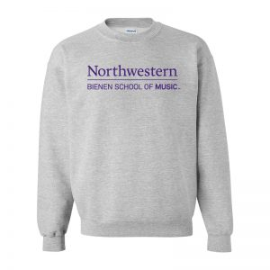 Northwestern University Grey Crewneck Sweatshirt with Bienen School of Music Design
