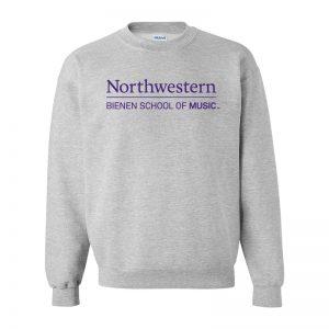 Northwestern University Grey Crewneck Sweatshirt with Bienen School of Music Design