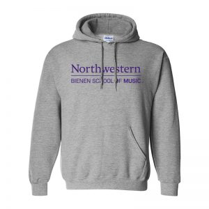 Northwestern University Grey Hooded Sweatshirt with Bienen School of Music Design