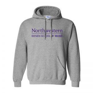 Northwestern University Grey Hooded Sweatshirt with Bienen School of Music Design