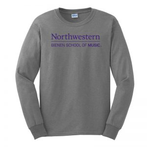 Northwestern University Purple Long Sleeve Tee Shirt with Bienen School of Music Design