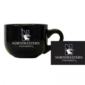 "Northwestern University Wildcats 24 oz. Black Latte Ceramic Coffee Mug with ""N-Cat Northwestern University"" Design"