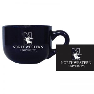 "Northwestern University Wildcats 24 oz. Cobalt Blue/Purple Latte/Soup Ceramic Mug with ""N-Cat Northwestern University"" Design"