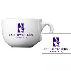 "Northwestern University Wildcats 24 oz. White Latte/Soup Ceramic Mug with ""N-Cat Northwestern University"" Design"