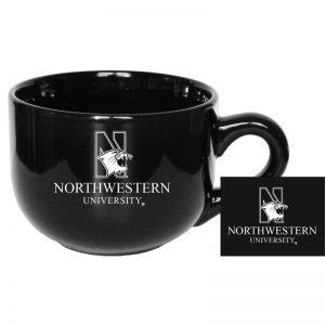 "Northwestern University Wildcats 16 oz. Black Latte Ceramic Coffee Mug with ""N-Cat Northwestern University"" Design"