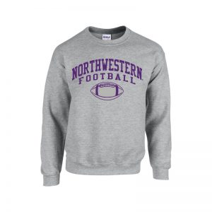 Northwestern University Wildcats Grey Crewneck Sweatshirt with Northwestern Football Design