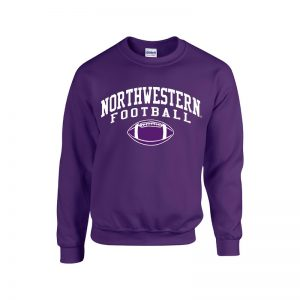 Northwestern University Wildcats Purple Crewneck Sweatshirt with Northwestern Football Design
