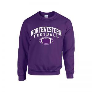 Northwestern University Wildcats Purple Crewneck Sweatshirt with Northwestern Football Design