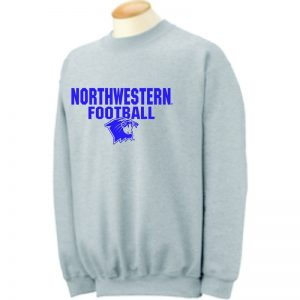Northwestern University Wildcats Grey Crewneck Sweatshirt with Football Wildcat Design