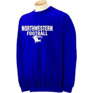 Northwestern University Wildcats Purple Crewneck Sweatshirt with Football Wildcat Design