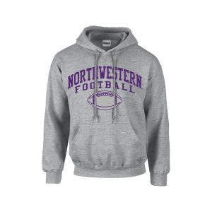 Northwestern University Wildcats Grey Hooded Sweatshirt with Northwestern Football Design