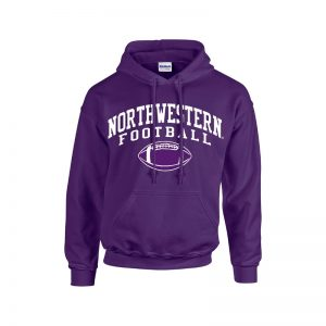 Northwestern University Wildcats Purple Hooded Sweatshirt with Northwestern Football Design