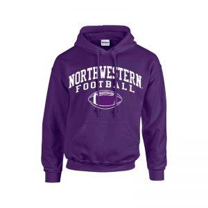 Northwestern University Wildcats Purple Hooded Sweatshirt with Northwestern Football Design