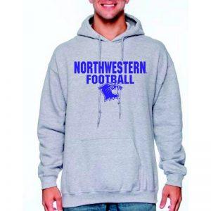 Northwestern University Wildcats Grey Hooded Sweatshirt with Northwestern Football Wildcat Design