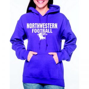 Northwestern University Wildcats Purple Hooded Sweatshirt with Northwestern Football Wildcat Design